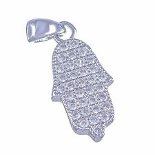 Sterling Silver 925 Pendant Of Lucky Hamsa With Zircons Amulet Judaica Israel