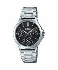 LTP-V300D-1A Black Casio Ladies Watches Steel Bands Analog New