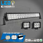 "22/24inch LED Light Bar Spot Flood Combo+ 2x 4"" Pods For Offroad Jeep Truck 4WD"
