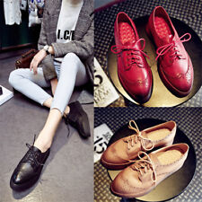 Vintage Women's Leather Lace Up Brogues Casual Creepers Platform Shoes Size 8