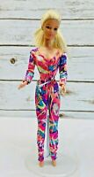 "MATTEL BARBIE Doll Long Blonde Hair Blue Eyes Rainbow Glitter Bodysuit 12"" Tall"