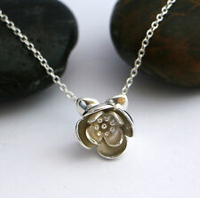 SOLID sterling silver 925 3d LOTUS flower necklace yoga jewellery