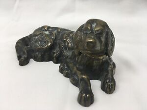 Antique Early 20th Century Bronze Dog Inkwell W Cobalt Well Ex!!!