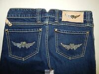 Twisted Heart Crystal Heart Wing Denim Jeans sz 26