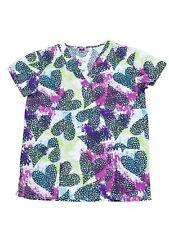 Womens Fashion Medical Nursing Scrub Print Tops Colorful Based Black Heart M