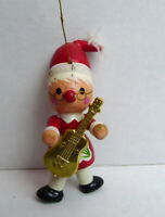 Christmas Santa Elf Lady Ornament Wooden 1984 vintage with guitar