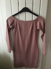 Ladies Clothes Size 8 - Pink Ribbed Short Sleeve Bodycon Dress 🍒🍒🍒