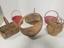 6 Vintage Modern Wicker Baskets Boho Rattan various mixed home decor lot crafts