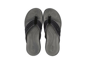 Men Crocs Santa Cruz Canvas Flip 205612-0DD Black Grey 100% Authentic Brand New