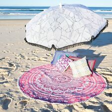 Indian Beach Yoga Cotton Throw Bohemian Ombre Mandala Round Pom Lace Tapestry