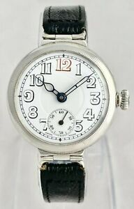 Large Silver Military WWI Officers Trench Watch R.F.A Royal Field Artillery 1915