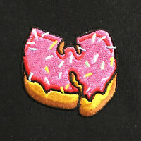 """""""W"""" x Pink Donut Black Embroidered Hip Hop Tee T-shirt by Actual Fact"""