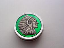 Translucent Green Indian Chief Headdress Nug Jar Purse Pill Weed Tin