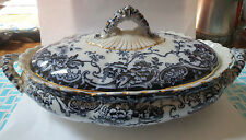 FLOW BLUE CHATSWORTH K-A CO. LATE MAYERS COVERED TUREEN - CIRCA 1900