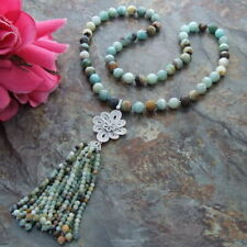"""natural  Faceted Round Amazonite 30"""" 12mm Necklace CZ Pendant"""