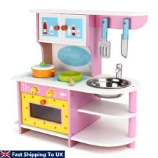 Large Girls Kids Pink Wooden Play Kitchen Children's Play Pretend Set Toy Y