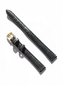 Ladies New Old Stock Black Gold Buckle Calf Grain Leather Watch Strap -12mm