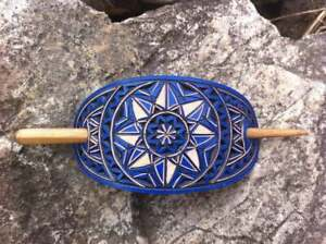 Geometrical blue hand carved leather hair barrette