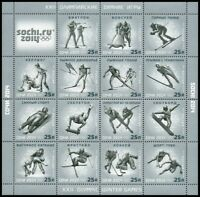 2014 Russia. Full Sheet. Winter Games in Sochi. Olympic winter sports. MNH