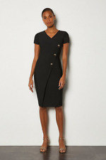 Karen Millen - Cap Sleeve Military Button Knit Dress - New With Tag - Size - 14