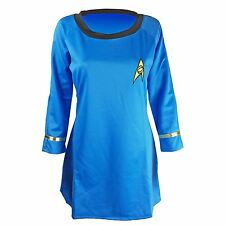 Women's Costume Star Trek Dress Half-sleeves Embroidery Badge Blue L USA Seller