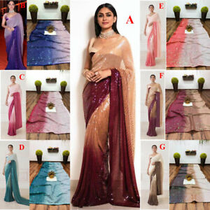 Sequin Gorgeous Fancy Sparkle Material Sequence Work Designer Saree Sari Blouse