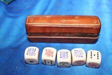 SET OF 5 MATCHING VINTAGE POKER DICE ORIGINAL BROWN CALF LEATHER CASE