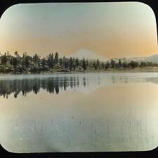 Antique Magic Lantern Glass Photo Slide Shasta From Orr's Lake California