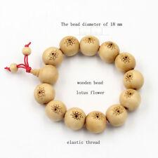 18mm Wood Lotus Beads Tibet Buddhist Prayer Bracelet Mala