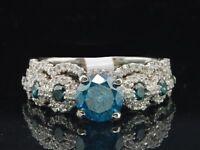 Certified 2.65Ct Blue Diamond Engagement & Wedding Ring Set In 14K White Gold