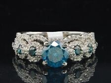 14K White Gold With Certified 1.9CT Blue Diamond Engagement & Wedding Ring Sets
