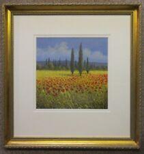 David Short Original Painting - Poppies Field Landscape Flowers Meadow 57x59cm
