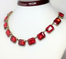 Red Rhinestone Crystal Antique Brass Necklace Georgian Collet Women Gift Boxed