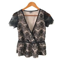 Gina Tricot Womens Black Lace Top Blouses Short Sleeve Size XS(6) Good Condition
