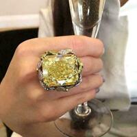 Princess Cut Huge Citrine Gelbgold gefüllt Ring Hochzeit Schmuck 7-1 Heiß G O6A9