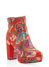 Women's Printed High Heel Platform Booties Red & Floral Print   Size 7