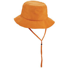 Woman's Packable Crushable One Size Orange Boonie Sun Hat With Chin Strap