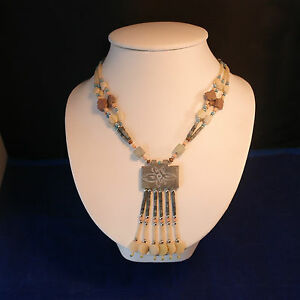 """Beautiful Necklace With Different Jade Color 16"""" Inches.Long In Display Box"""