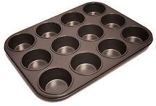 NUOVO ANTIADERENTE 12 CUP CAKES CUPCAKE MUFFIN CHIGNON Yorkshire Pudding PAN VASSOIO LATTA