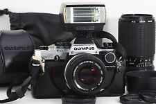 [NEAR MINT] OLYMPUS OM-10 + 50 & 80-200mm Lens + Manual Adapter + other  #655
