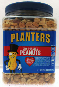 Planters Dry Roasted Party Size Peanuts ~ Heart Healthy ~ 34.5 oz Nuts