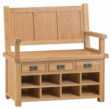 HEREFORD MODERN OAK MONKS BENCH / HALLWAY SHOE STORAGE / SEAT