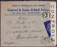 Jewish Judaica Censored Cover Constantine Algeria 1935 - GABRIEL & EMILE ELBAZ
