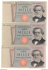 1000 lire verdi II° tipo 1969 1971 1975 lotto di 3 pezzi qfds/fds LOTTO 1495