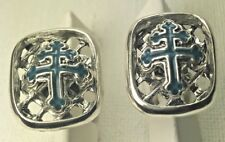 Special forces Cross of Loraine enameled cufflinks sterling silver
