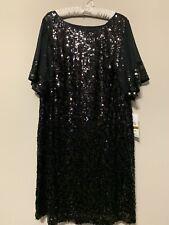 NWT $150 Ignite Evenings By Carol Lin Stretch Sequin Dolman Sleeve Dress 16W