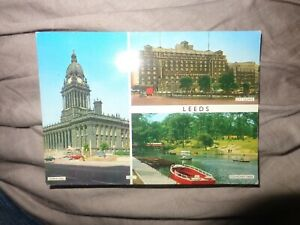 Postcard Leeds Multi view C1970 LILYWHITE QUEENS HOTEL TOWN HALL ROUNDHAY PARK L