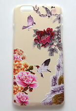 iPhone 6 4.7 3D raised pattern purple birds red pink peony flowers cover case
