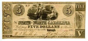 1862.  $5  Raleigh, State of North Carolina  CR# 86.