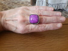 BRAND  NEW  SILVER RING WITH A LARGE PURPLE  STONE  SIZE U WITH GIFT BOX